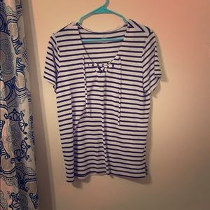 Blue and White Stripped Blouse/T-Shirt